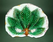 Rare George Jones Majolica 'Chestnut Leaf on Napkin' Serving Dish c1870